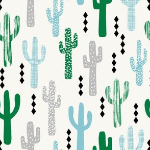 cactus greens grey blue grid tropical southwest design for trendy kids spring summer