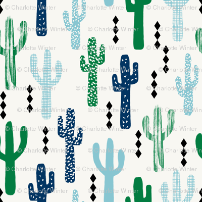 cactus greens navy blue grid tropical southwest design for trendy kids spring summer