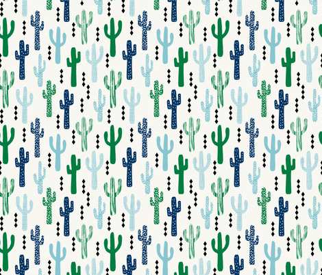 cactus greens navy blue grid tropical southwest design for trendy kids spring summer  fabric by charlottewinter on Spoonflower - custom fabric