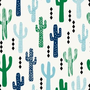 cactus greens navy blue grid tropical southwest design for trendy kids spring summer