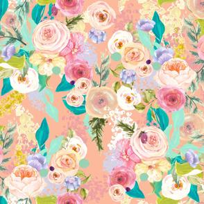 Pastel Garden Spring Floral // Peachy