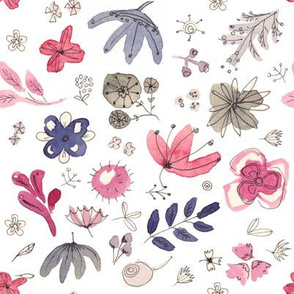 Floral water color pattern in cool pastel colors