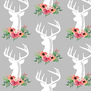 Deer + Flowers (gray) – Coral Peach Floral White Deer Woodland Baby Girl Nursery Bedding Crib Sheets Blanket