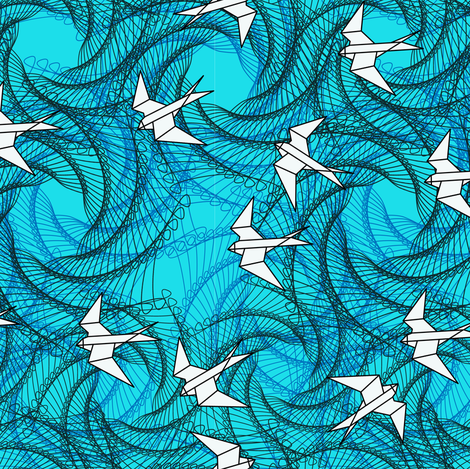 small_paper_swallows_blue_black_white fabric by fabiennegood on Spoonflower - custom fabric