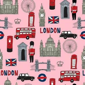 london // brit fabric england tourist international fabric pink