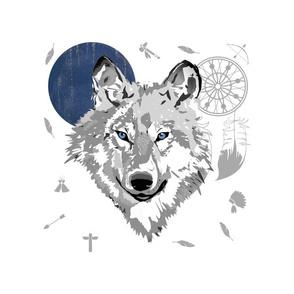 "14""x18"" /  10""x10"" Illustration /  Boys Boho Wolf"