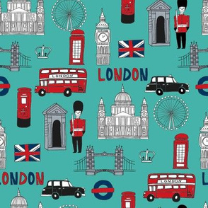 london // brit fabric england tourist international fabric turquoise