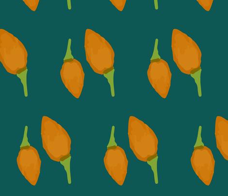 FLORA burgeon petrol fabric by risola on Spoonflower - custom fabric