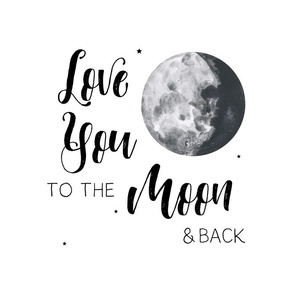 "14""x18""/ 10""x10"" Illustration / Love You to the Moon & Back"