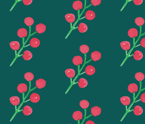 FLORA redcurrant petrol fabric by risola on Spoonflower - custom fabric