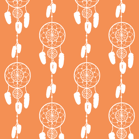 Dreamcatcher Orange fabric by jannasalak on Spoonflower - custom fabric
