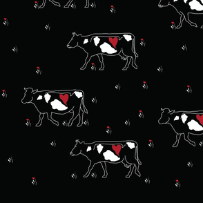 Cows in Love - on black