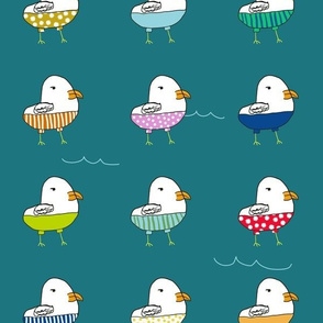 Seagulls in Shorts- Teal