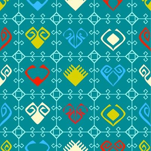 Kilim Grid With Hearts - Blue-01