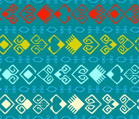 Trail of Hearts Kilim - Blue fabric by azureimagestudio on Spoonflower - custom fabric