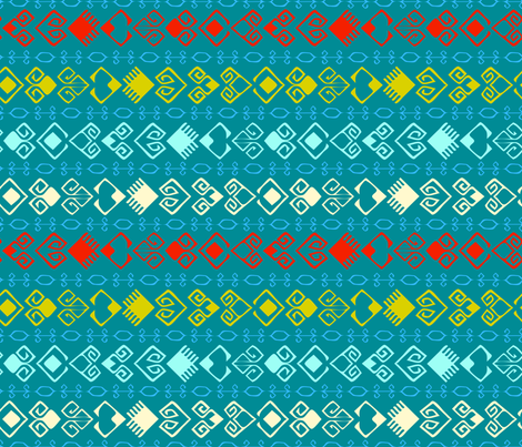 Trail of Hearts Kilim - Blue Small fabric by azureimagestudio on Spoonflower - custom fabric
