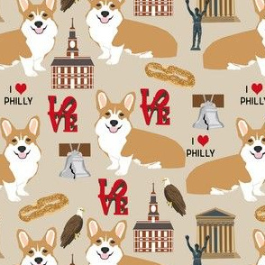 corgi philly Corgi in Philadelphia fabric - corgi travel, usa, Philly, cute dogs design - tan