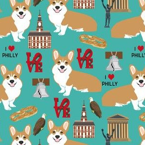 Corgi in Philadelphia fabric - corgi travel, usa, Philly, cute dogs design - turquoise