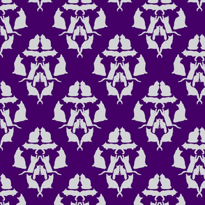 Damask Cat Silhouette Purple and a grey