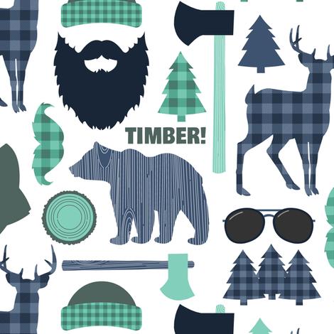 Lumberjack Mountain Blue fabric by jannasalak on Spoonflower - custom fabric