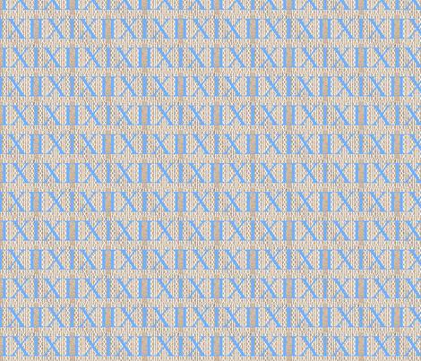 Roman Numerals in Santorini Blue fabric by blueeyeddesign on Spoonflower - custom fabric