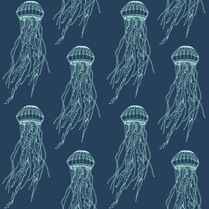 Jellyfish, Seafoam on Dark Blue