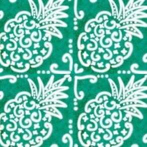 Spanish Tile N6 Pineapple (Pantone Arcadia Green reversed)