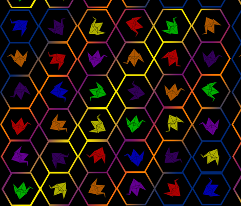 Rainbow Hexagon Cranes fabric by blkloligamer on Spoonflower - custom fabric