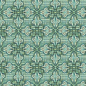 Flourish mozaic, blue green, small