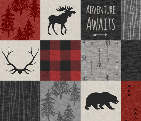 Adventure Awaits Quilt- Grey,  Black and Red fabric by sugarpinedesign on Spoonflower - custom fabric