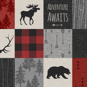 Adventure Awaits Quilt- Grey,  Black and Red