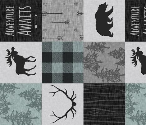 Adventure Awaits Quilt - Muted Aqua ,Black, Grey fabric by sugarpinedesign on Spoonflower - custom fabric