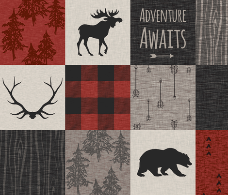 Adventure Awaits 12 Sq - Taupe, Black, Red And Cream fabric by sugarpinedesign on Spoonflower - custom fabric