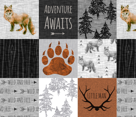 Adventure Awaits with Fox - Rust, Black, Grey, White - Little Man fabric by sugarpinedesign on Spoonflower - custom fabric
