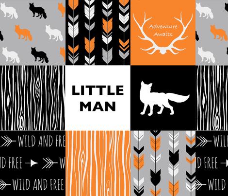 Little Man Fox - Orange,  Grey, Black And White fabric by sugarpinedesign on Spoonflower - custom fabric