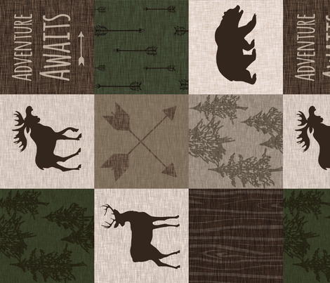 Adventure Awaits Quilt - Hunter Green and Brown - Rotated Moose, Bear, Antlers fabric by sugarpinedesign on Spoonflower - custom fabric