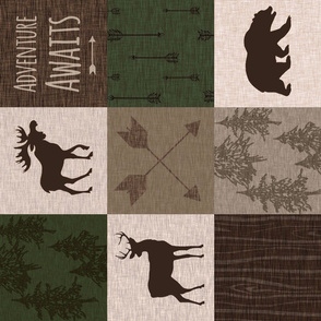 Adventure Awaits Quilt - Hunter Green and Brown - Rotated Moose, Bear, Antlers
