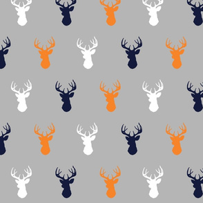 Deer - Navy,Orange, white on grey - rocky mountain