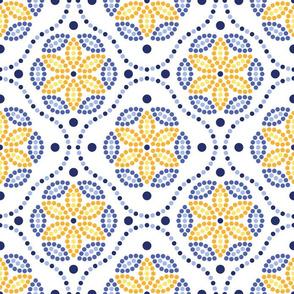 Gaudi ceramics inspired dotted mosaic pattern