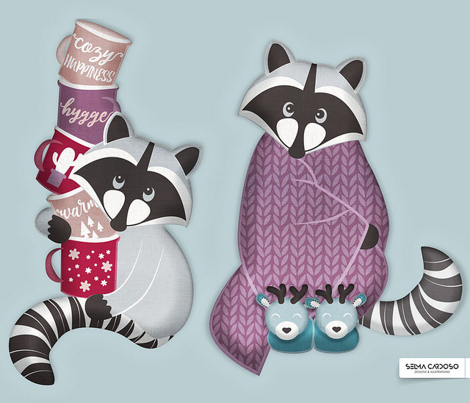 Cut and sew your own hygge raccoon with mugs // pink purple & red