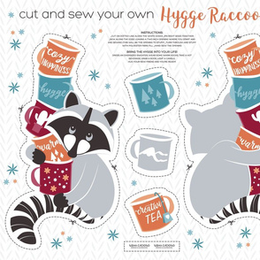 Cut and sew your own hygge raccoon with mugs // orange blue & red