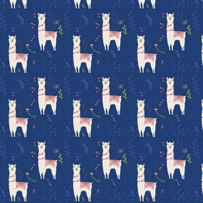 Llama Pattern on Blue