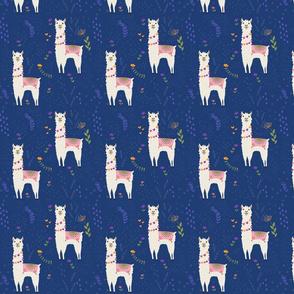 Llama Pattern on Dark Blue