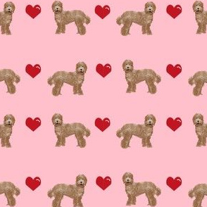 labradoodle love hearts unique dog breed fabric pink