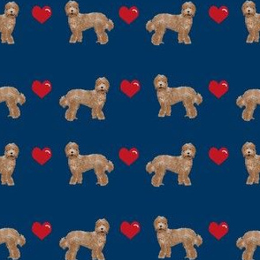 labradoodle love hearts unique dog breed fabric navy