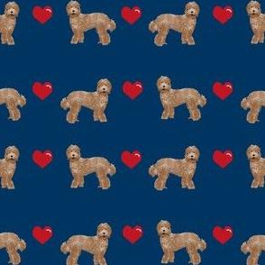 labradoodle love hearts unique dog breed fabric navy