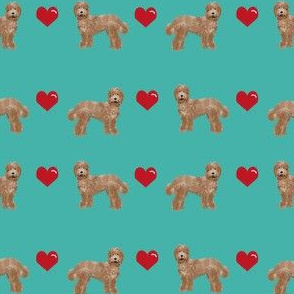 labradoodle love hearts unique dog breed fabric turquoise
