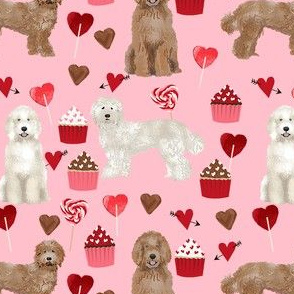 labradoodle valentines day cupcakes unique dog breed fabric pink