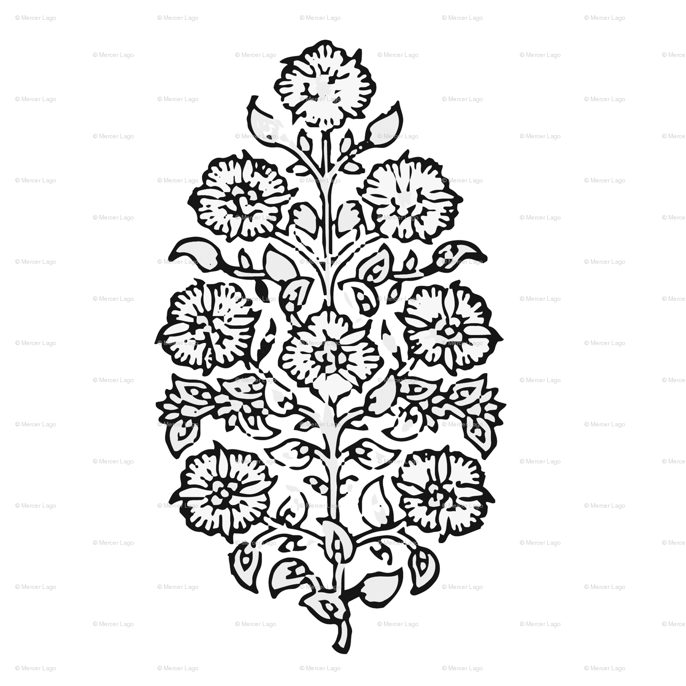 Mughal Flower Black And White Indian Block Print India Flower Fabric