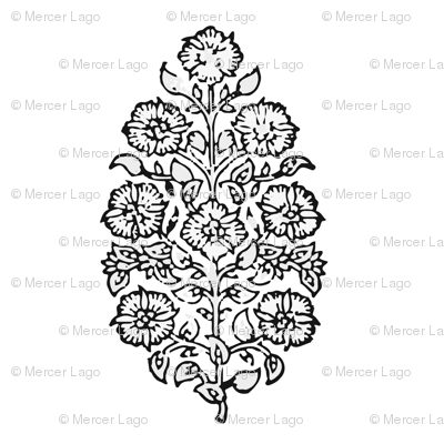 mughal flower black and white indian block print india flower